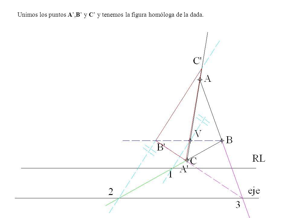 Unimos los puntos A',B' y C' y tenemos la figura homóloga de la dada.