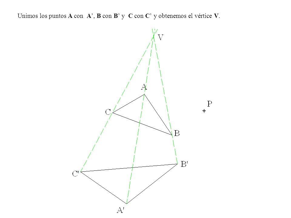 Unimos los puntos A con A', B con B' y C con C' y obtenemos el vértice V.
