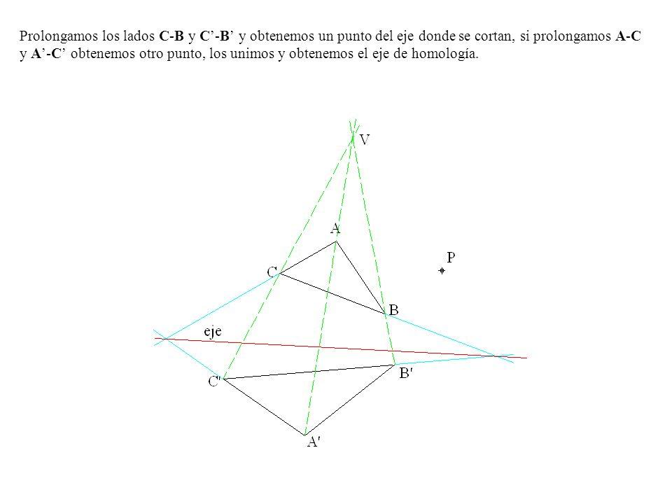 Prolongamos los lados C-B y C'-B' y obtenemos un punto del eje donde se cortan, si prolongamos A-C y A'-C' obtenemos otro punto, los unimos y obtenemos el eje de homología.