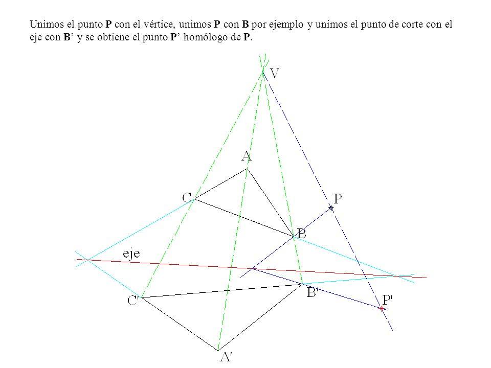 Unimos el punto P con el vértice, unimos P con B por ejemplo y unimos el punto de corte con el eje con B' y se obtiene el punto P' homólogo de P.