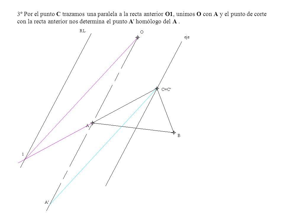 3º Por el punto C trazamos una paralela a la recta anterior O1, unimos O con A y el punto de corte con la recta anterior nos determina el punto A homólogo del A .