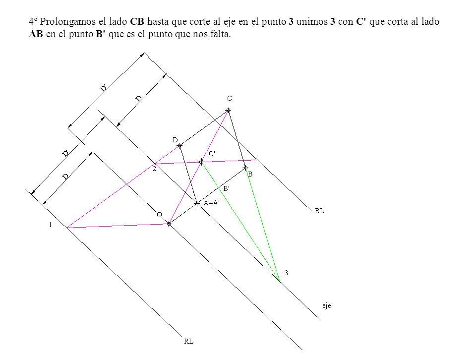 4º Prolongamos el lado CB hasta que corte al eje en el punto 3 unimos 3 con C que corta al lado AB en el punto B que es el punto que nos falta.