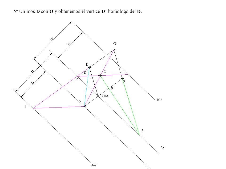 5º Unimos D con O y obtenemos el vértice D' homologo del D.