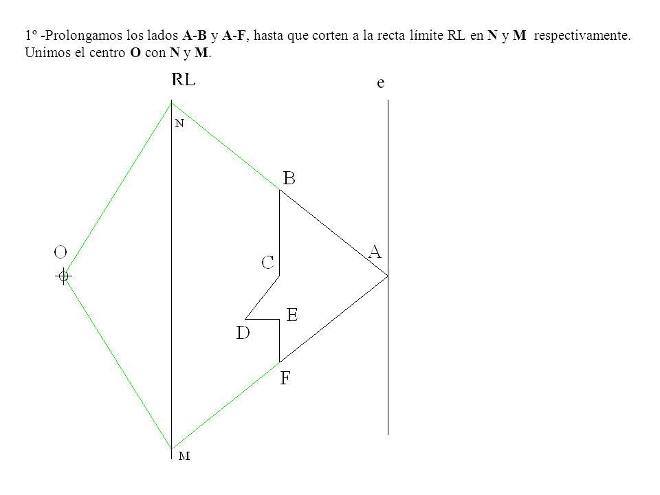 1º -Prolongamos los lados A-B y A-F, hasta que corten a la recta límite RL en N y M respectivamente.