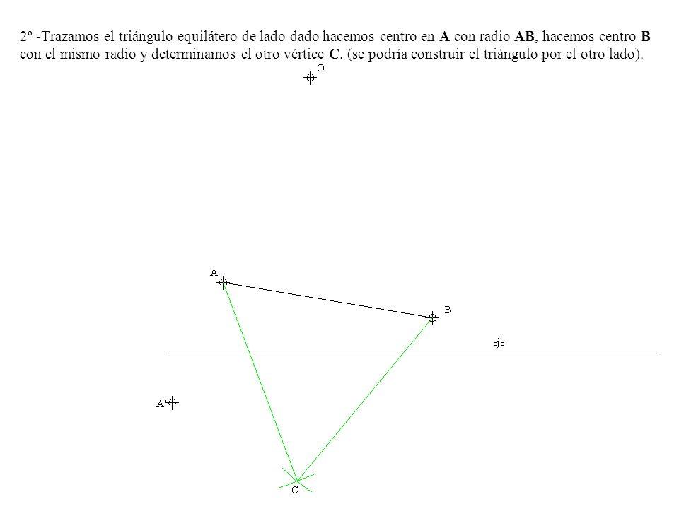 2º -Trazamos el triángulo equilátero de lado dado hacemos centro en A con radio AB, hacemos centro B con el mismo radio y determinamos el otro vértice C.