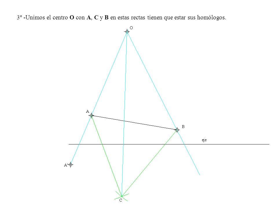 3º -Unimos el centro O con A, C y B en estas rectas tienen que estar sus homólogos.
