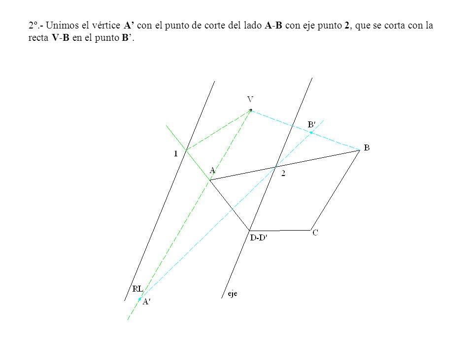 2º.- Unimos el vértice A' con el punto de corte del lado A-B con eje punto 2, que se corta con la recta V-B en el punto B'.