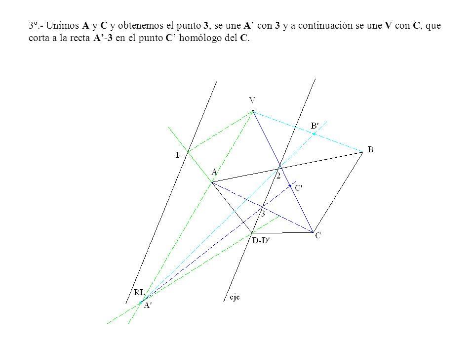 3º.- Unimos A y C y obtenemos el punto 3, se une A' con 3 y a continuación se une V con C, que corta a la recta A'-3 en el punto C' homólogo del C.