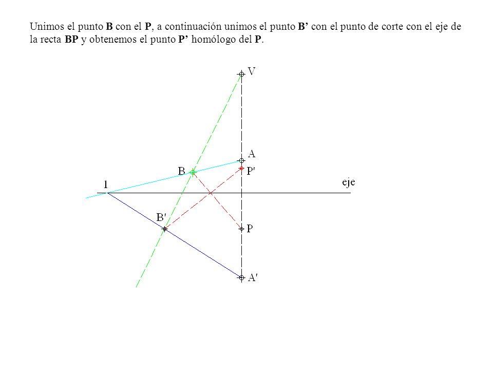 Unimos el punto B con el P, a continuación unimos el punto B' con el punto de corte con el eje de la recta BP y obtenemos el punto P' homólogo del P.