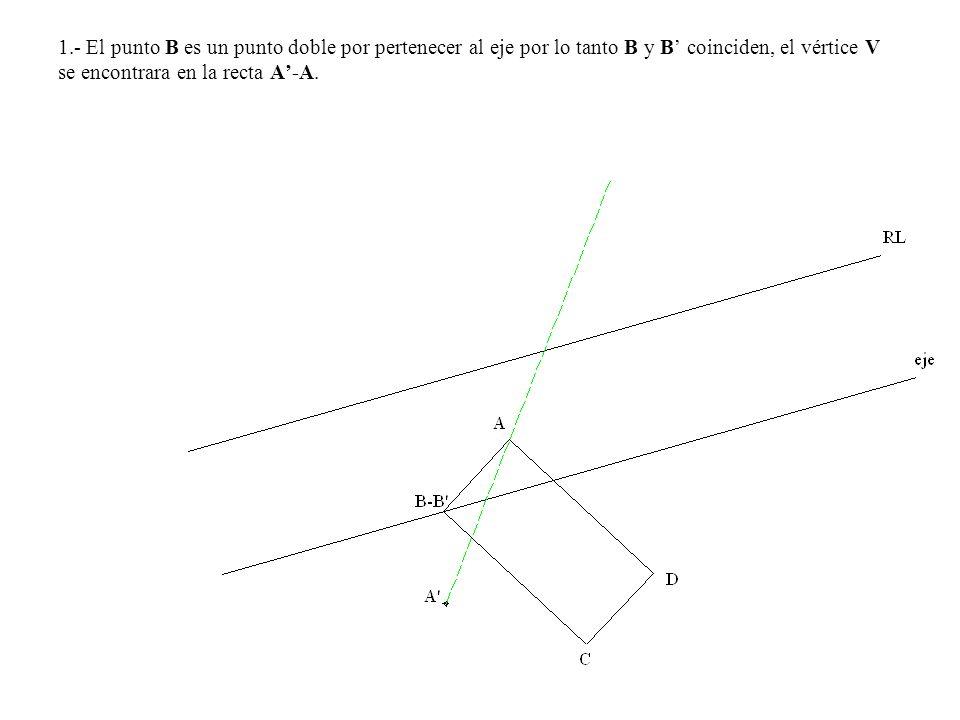 1.- El punto B es un punto doble por pertenecer al eje por lo tanto B y B' coinciden, el vértice V se encontrara en la recta A'-A.