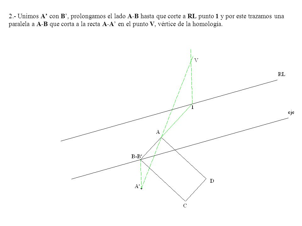 2.- Unimos A' con B', prolongamos el lado A-B hasta que corte a RL punto 1 y por este trazamos una paralela a A-B que corta a la recta A-A' en el punto V, vértice de la homología.
