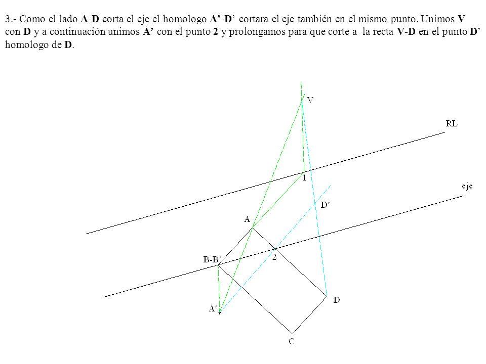 3.- Como el lado A-D corta el eje el homologo A'-D' cortara el eje también en el mismo punto.