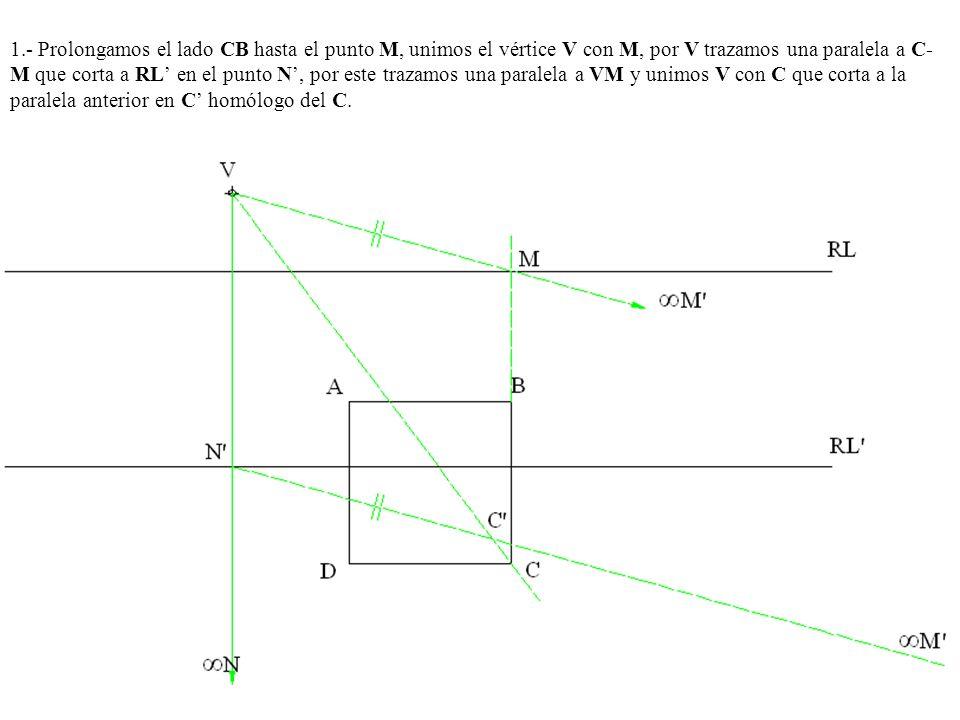 1.- Prolongamos el lado CB hasta el punto M, unimos el vértice V con M, por V trazamos una paralela a C-M que corta a RL' en el punto N', por este trazamos una paralela a VM y unimos V con C que corta a la paralela anterior en C' homólogo del C.
