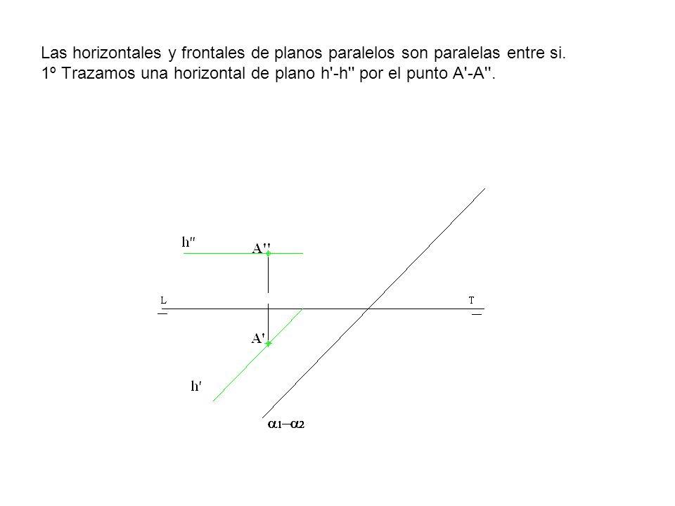 Las horizontales y frontales de planos paralelos son paralelas entre si.