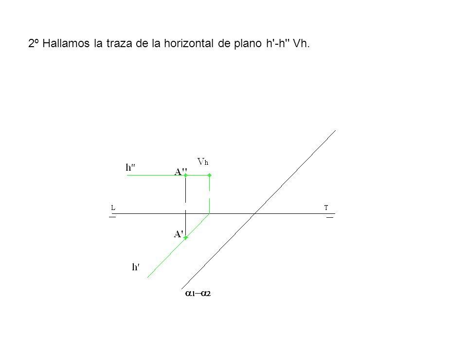 2º Hallamos la traza de la horizontal de plano h -h Vh.