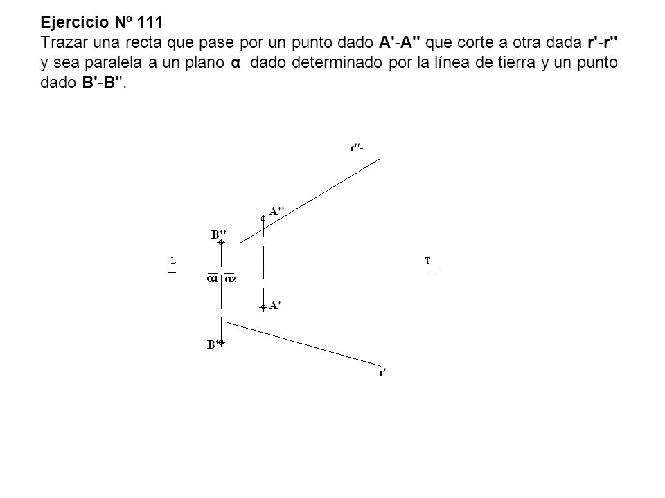 Ejercicio Nº 111 Trazar una recta que pase por un punto dado A -A que corte a otra dada r -r y sea paralela a un plano α dado determinado por la línea de tierra y un punto dado B -B .