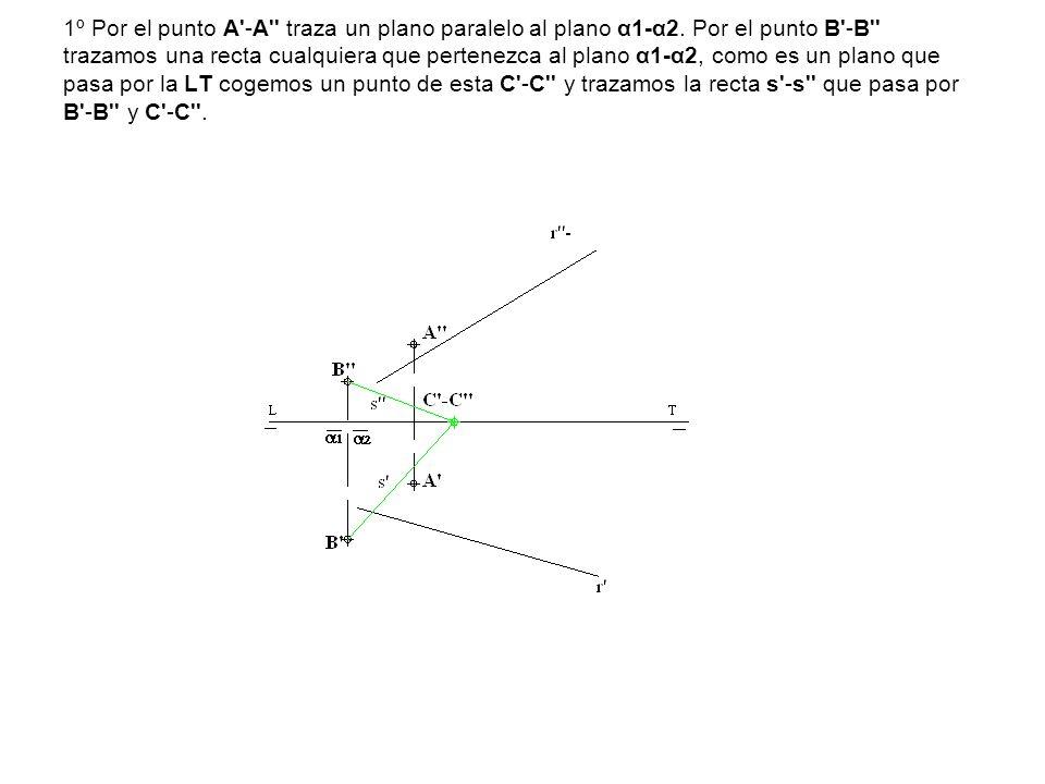 1º Por el punto A -A traza un plano paralelo al plano α1-α2