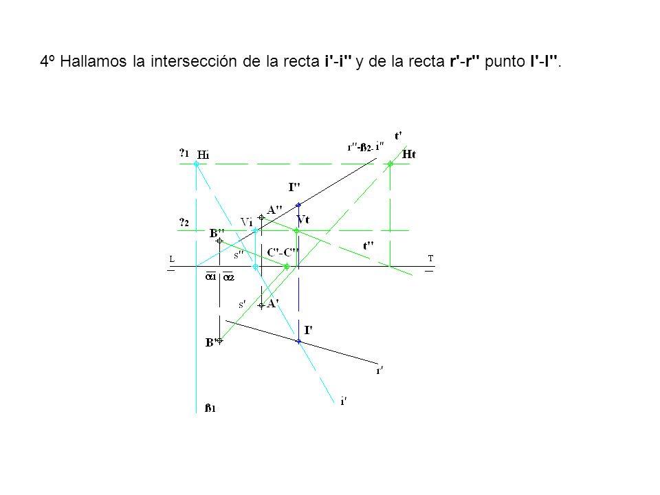 4º Hallamos la intersección de la recta i -i y de la recta r -r punto I -I .