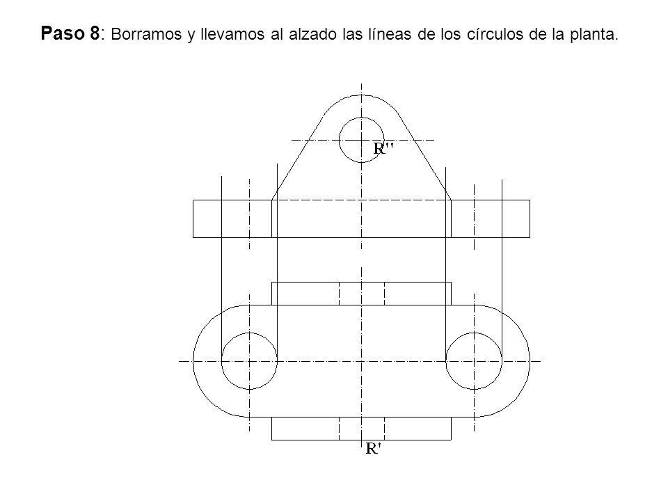 Paso 8: Borramos y llevamos al alzado las líneas de los círculos de la planta.