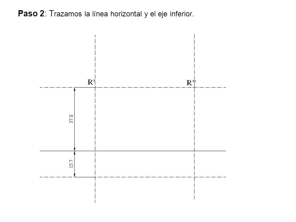 Paso 2: Trazamos la línea horizontal y el eje inferior.