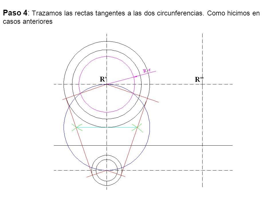 Paso 4: Trazamos las rectas tangentes a las dos circunferencias