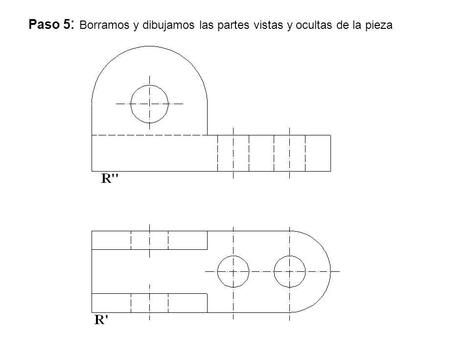 Paso 5: Borramos y dibujamos las partes vistas y ocultas de la pieza