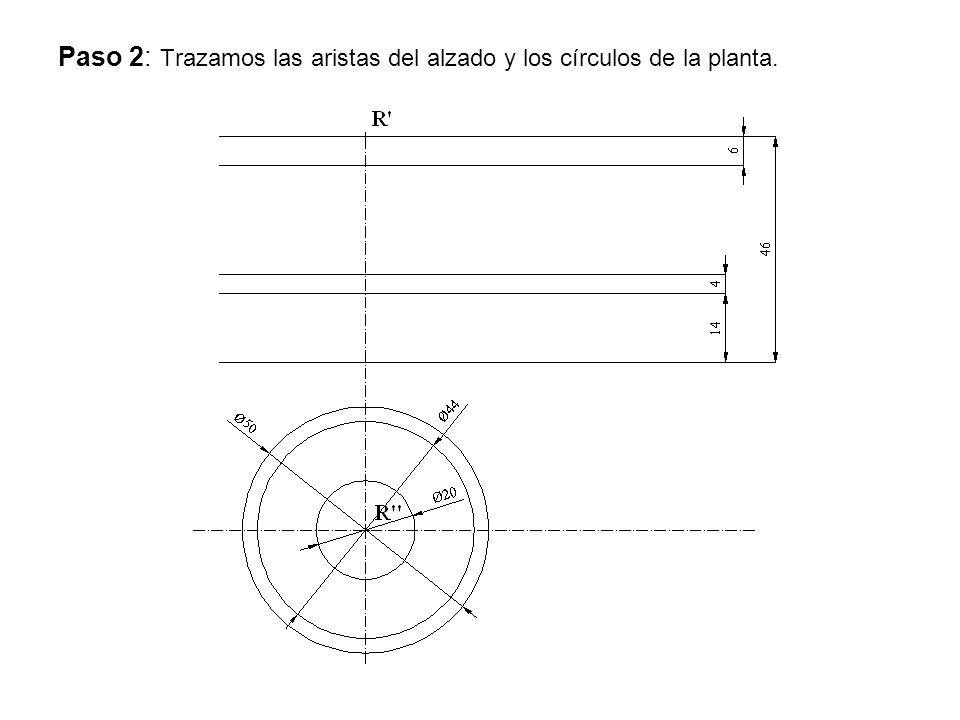 Paso 2: Trazamos las aristas del alzado y los círculos de la planta.