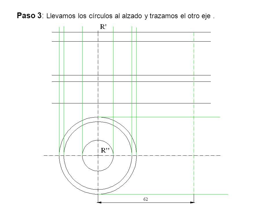 Paso 3: Llevamos los círculos al alzado y trazamos el otro eje .