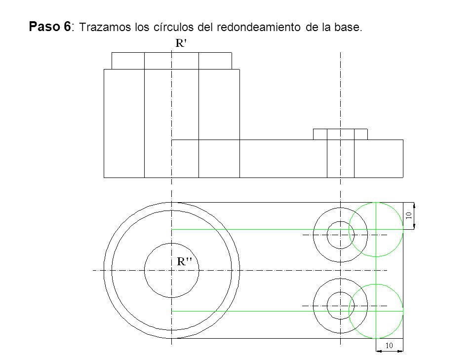 Paso 6: Trazamos los círculos del redondeamiento de la base.