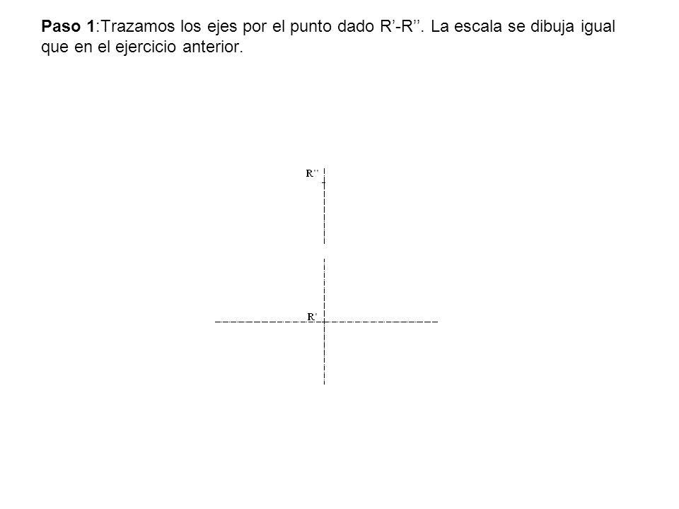 Paso 1:Trazamos los ejes por el punto dado R'-R''