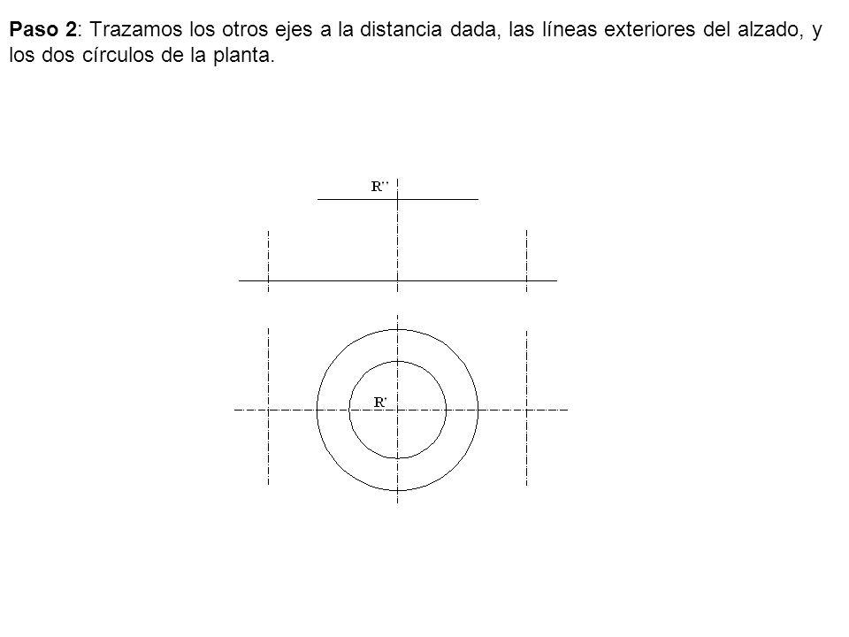 Paso 2: Trazamos los otros ejes a la distancia dada, las líneas exteriores del alzado, y los dos círculos de la planta.