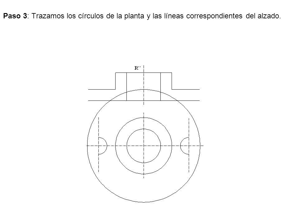 Paso 3: Trazamos los círculos de la planta y las líneas correspondientes del alzado.