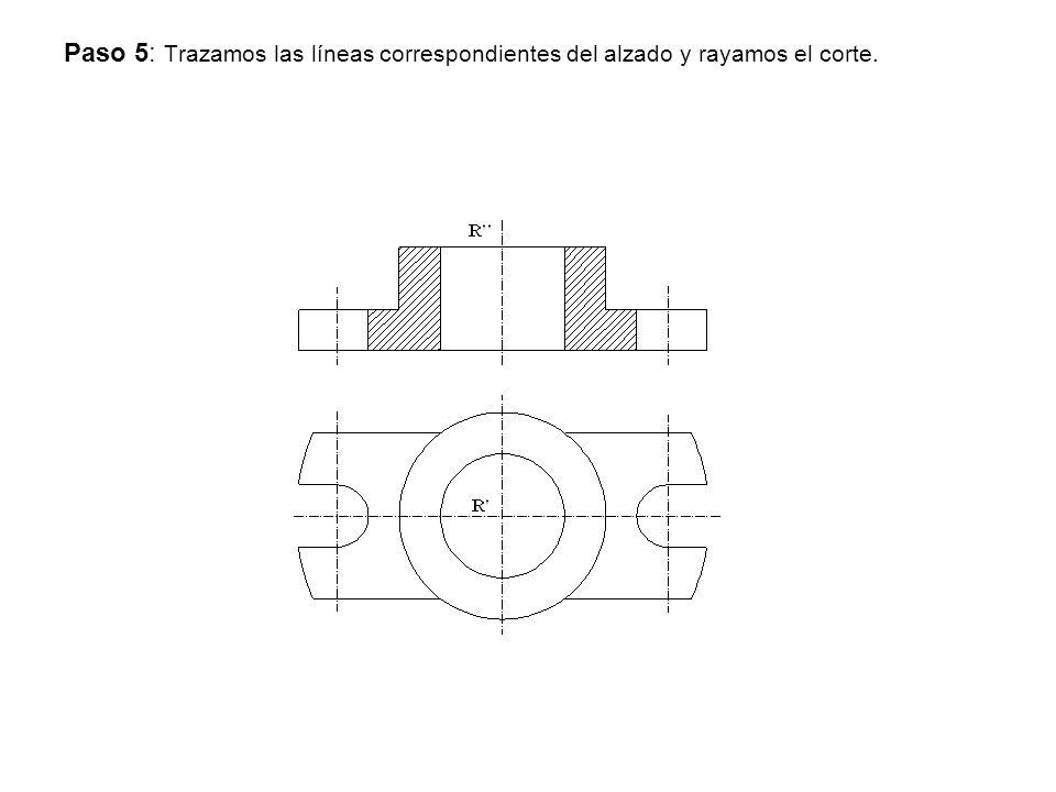 Paso 5: Trazamos las líneas correspondientes del alzado y rayamos el corte.