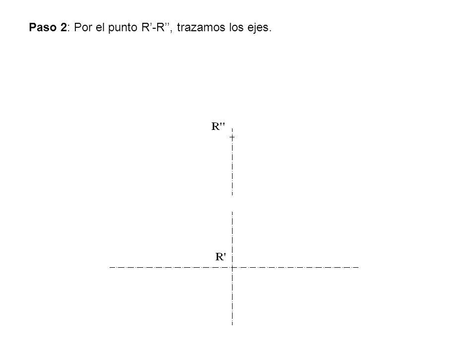 Paso 2: Por el punto R'-R'', trazamos los ejes.