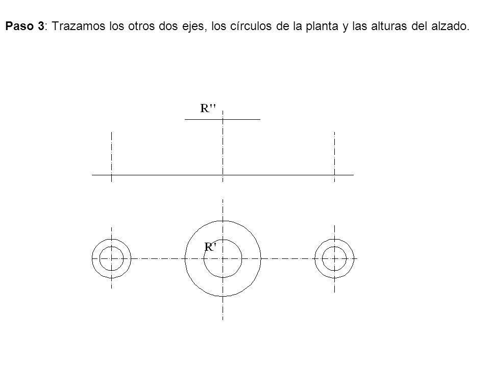 Paso 3: Trazamos los otros dos ejes, los círculos de la planta y las alturas del alzado.