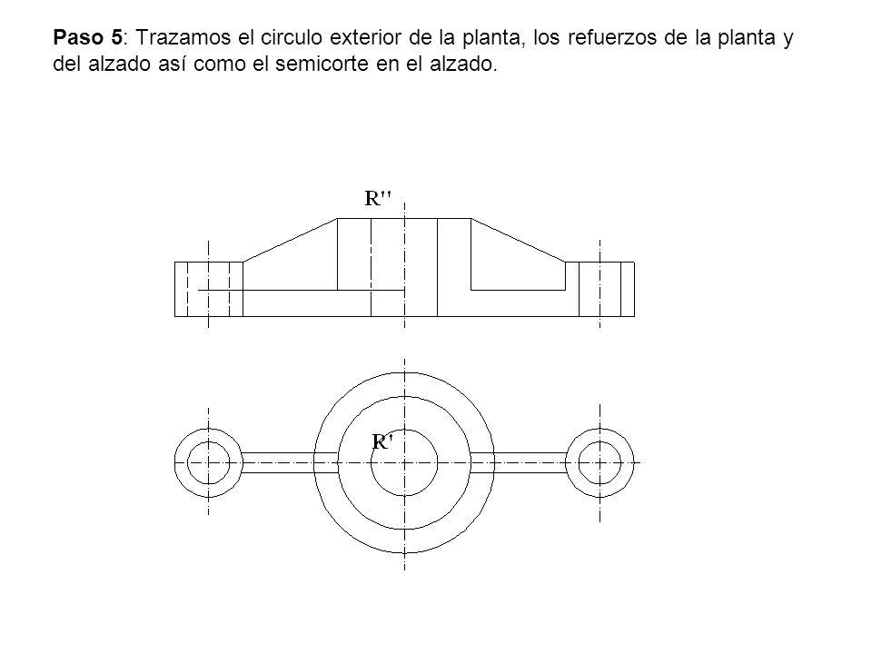 Paso 5: Trazamos el circulo exterior de la planta, los refuerzos de la planta y del alzado así como el semicorte en el alzado.