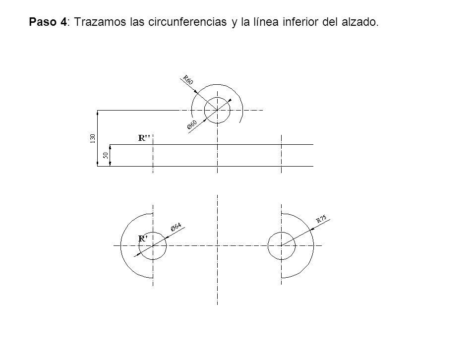Paso 4: Trazamos las circunferencias y la línea inferior del alzado.