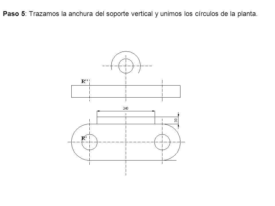 Paso 5: Trazamos la anchura del soporte vertical y unimos los círculos de la planta.