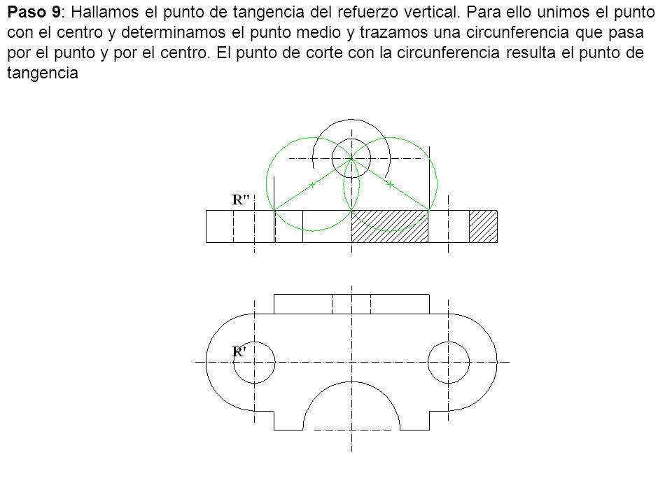 Paso 9: Hallamos el punto de tangencia del refuerzo vertical