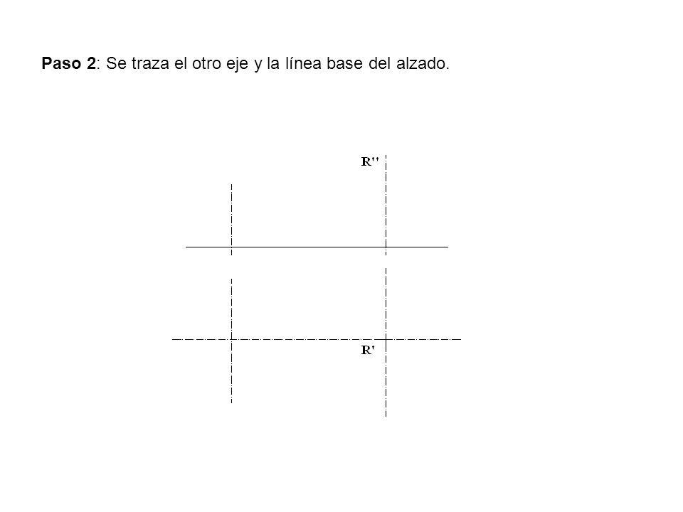 Paso 2: Se traza el otro eje y la línea base del alzado.