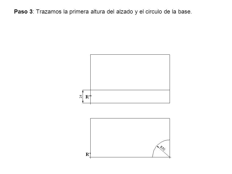 Paso 3: Trazamos la primera altura del alzado y el circulo de la base.