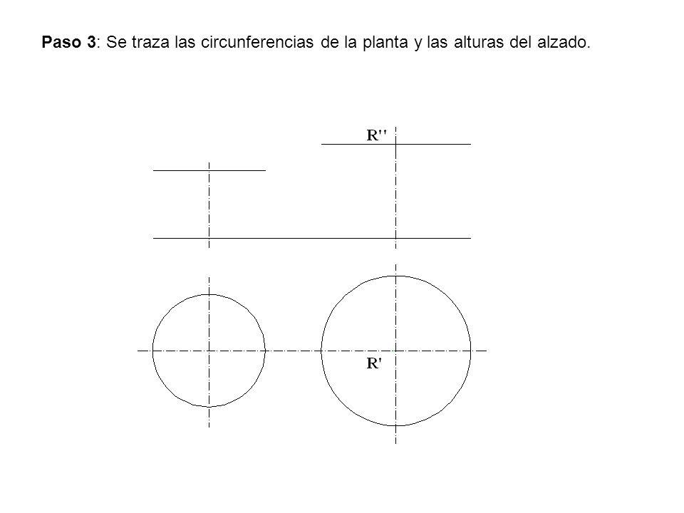 Paso 3: Se traza las circunferencias de la planta y las alturas del alzado.