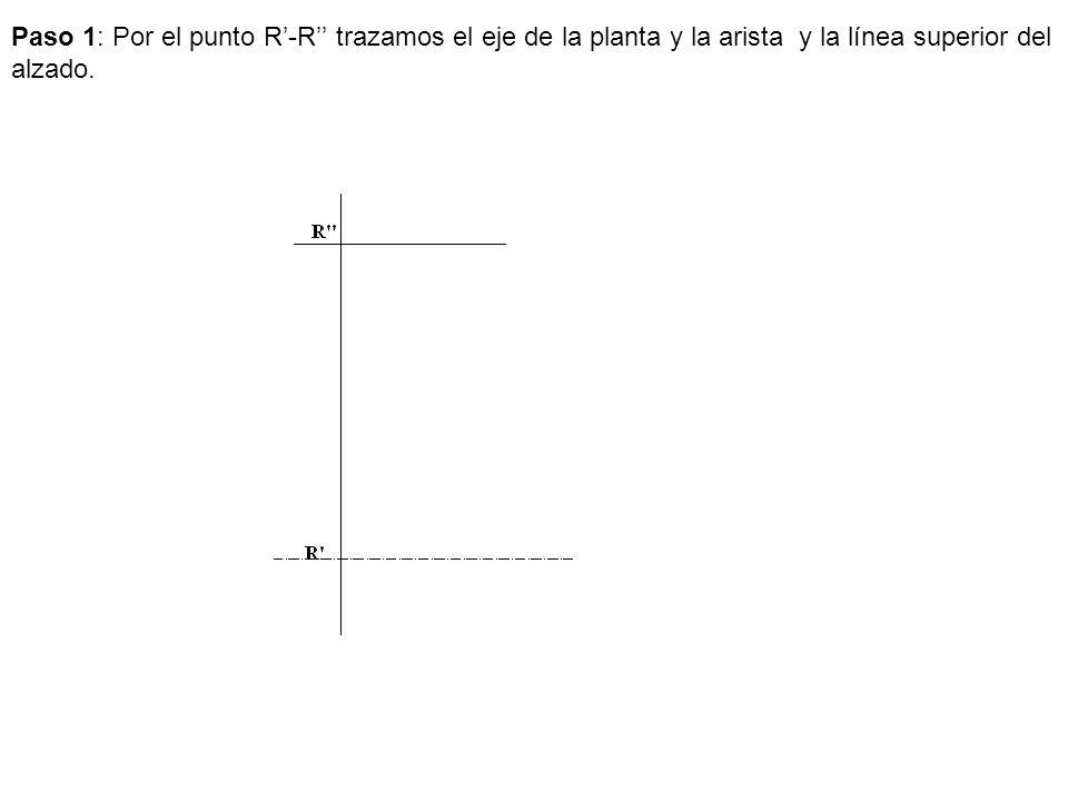 Paso 1: Por el punto R'-R'' trazamos el eje de la planta y la arista y la línea superior del alzado.