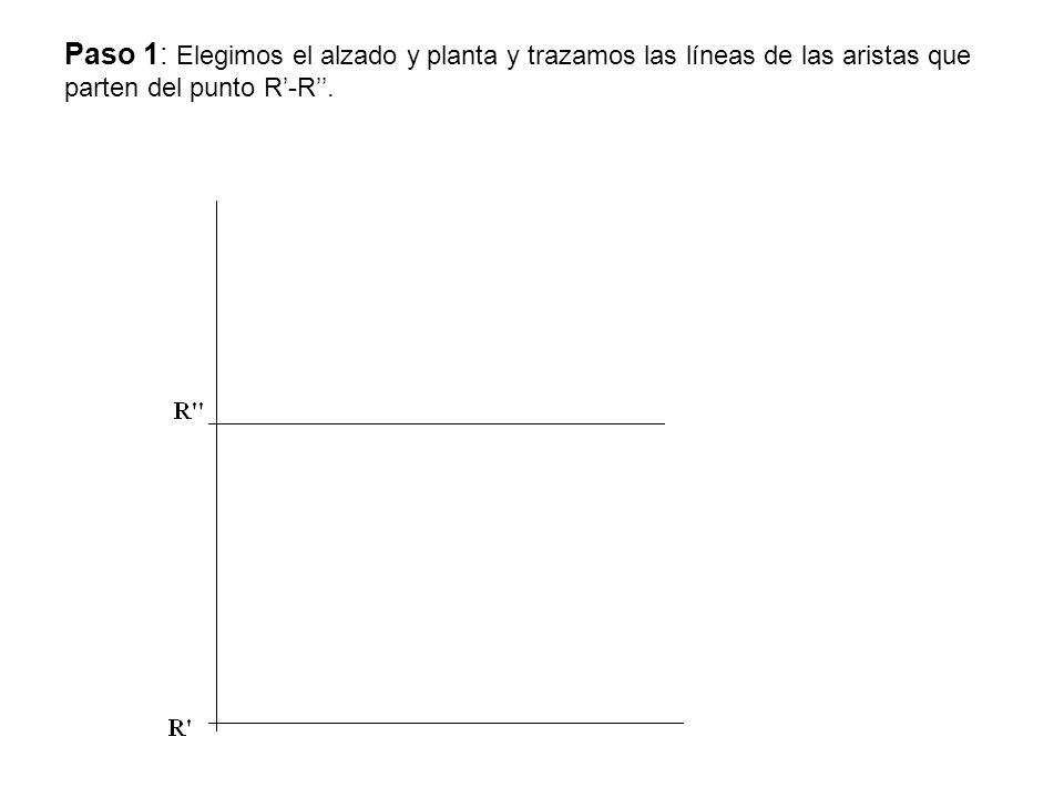 Paso 1: Elegimos el alzado y planta y trazamos las líneas de las aristas que parten del punto R'-R''.