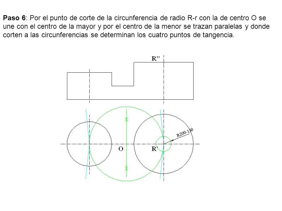 Paso 6: Por el punto de corte de la circunferencia de radio R-r con la de centro O se une con el centro de la mayor y por el centro de la menor se trazan paralelas y donde corten a las circunferencias se determinan los cuatro puntos de tangencia.