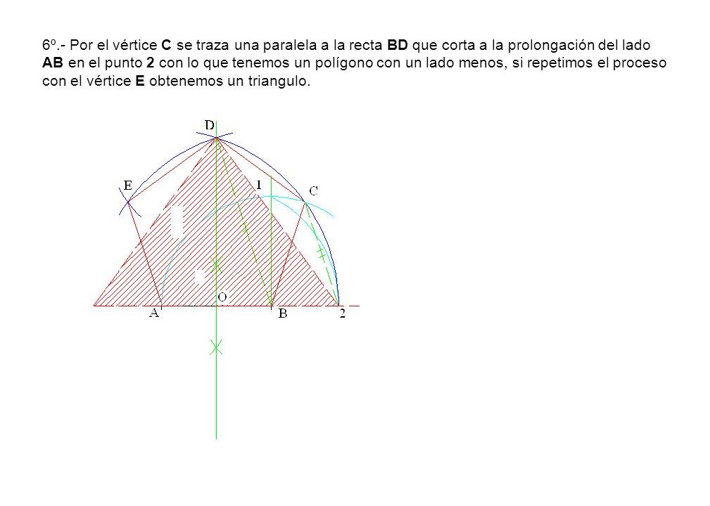 6º.- Por el vértice C se traza una paralela a la recta BD que corta a la prolongación del lado AB en el punto 2 con lo que tenemos un polígono con un lado menos, si repetimos el proceso con el vértice E obtenemos un triangulo.
