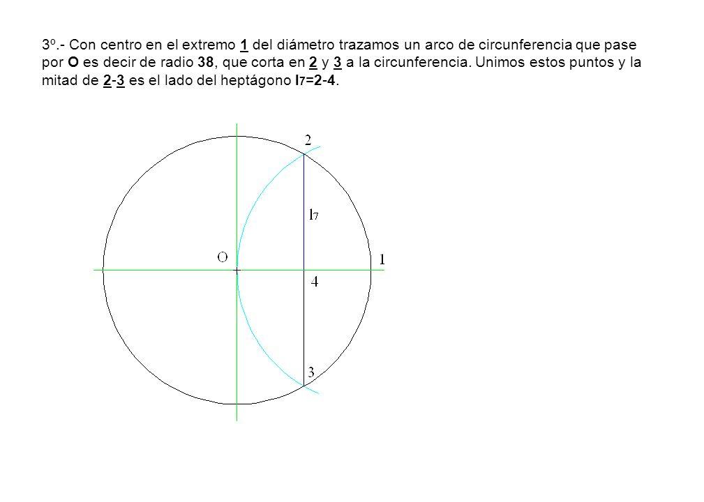 3º.- Con centro en el extremo 1 del diámetro trazamos un arco de circunferencia que pase por O es decir de radio 38, que corta en 2 y 3 a la circunferencia.