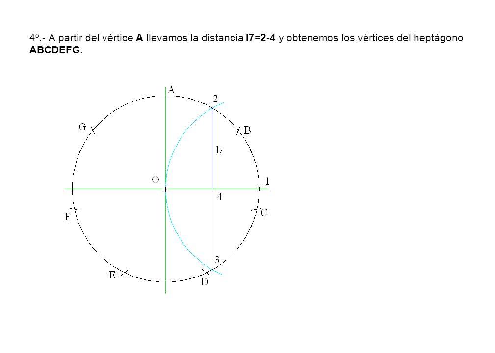 4º.- A partir del vértice A llevamos la distancia l7=2-4 y obtenemos los vértices del heptágono ABCDEFG.