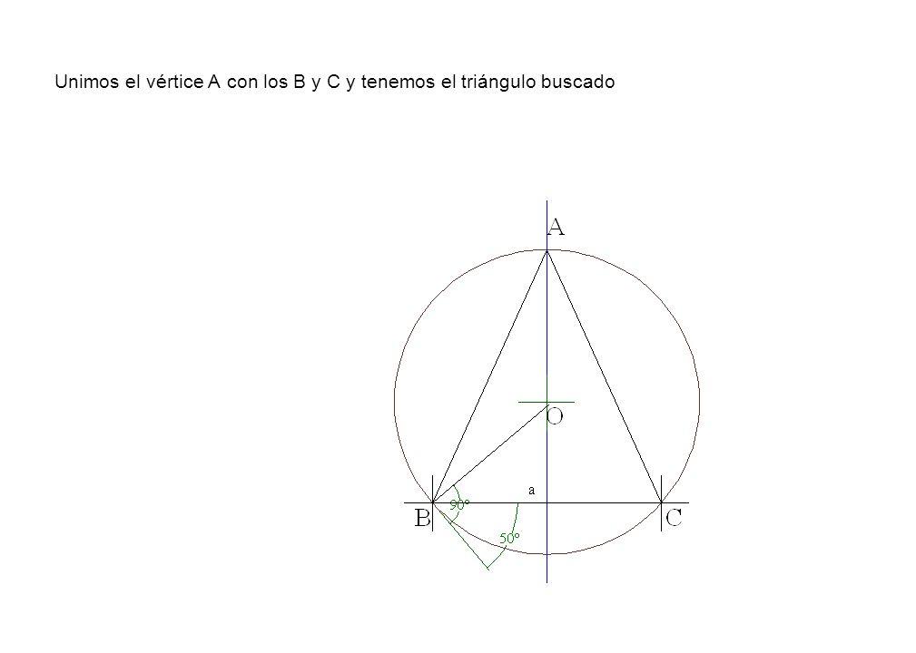 Unimos el vértice A con los B y C y tenemos el triángulo buscado