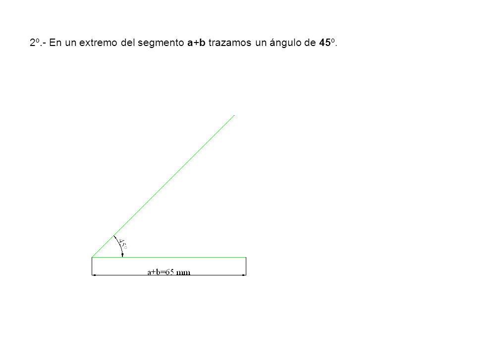 2º.- En un extremo del segmento a+b trazamos un ángulo de 45º.